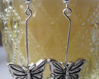 Silver Coloured Butterfly Drop and Dangle Ear-rings