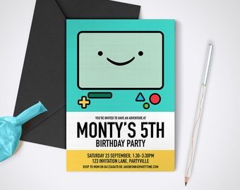 Adventure Time, Beemo Printable Party Invite - Edit and print as many copies as you like / Printable Adventure Time themed party invitation