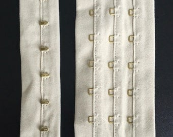 1 Metre x Champagne/Light Gold Continuous Hook and Eye Tape Plush Back