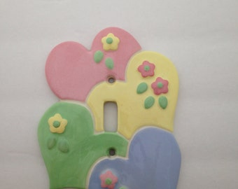 Switchplate//Ceramic Switchplate//Hearts and Flowers Switchplate//Little Girl's Room Decor//Nursery