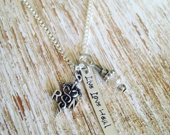 RN Live Love Heal hand stamped necklace / RN charm / registered nurse jewelry / nurse charm / nurse thank you gift
