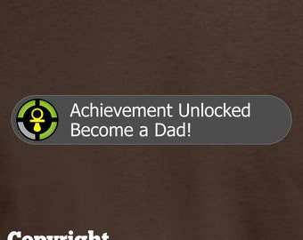 Achievement Unlocked: Become A Dad | New Dad T-shirt *** in NEW Dark Colours! | Geeky New Dads | Gamer Geek New Father Shirt