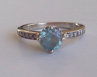 Sale! Blue Zircon Diamond 14k White Gold Art Deco Ring