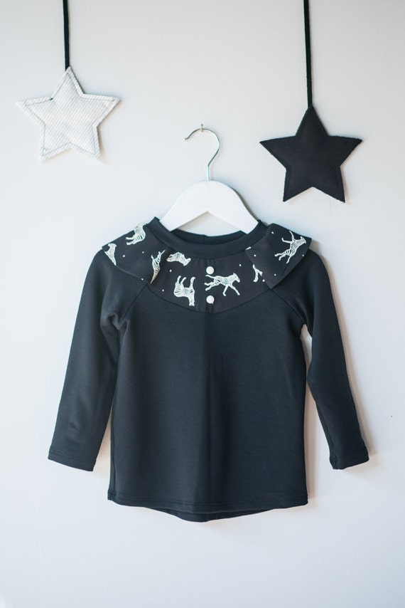 TAMIA - long sleeve plain shirt with zebras print on ruffles for kids - black