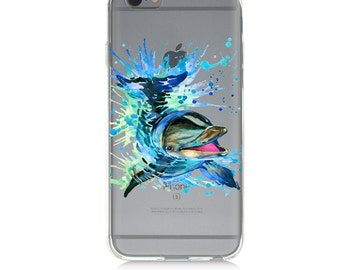 iPhone 7 Clear Case - dolphin  - Protective TPU cover for iPhone 7 - 7 plus - iPhone 6s -  6s plus - Samsung Galaxy s5 s6 s7 Note 7