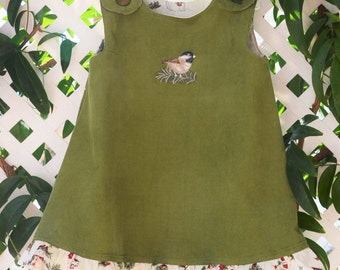 Girl's green Corduroy Jumper/Chickadee Embroidery/Size 2T and 3T