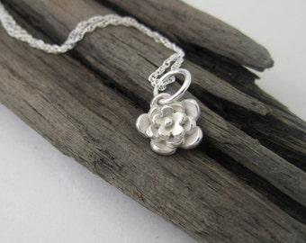 3D Flower Pendant Handmade in Fine Silver, Small Silver Flower Necklace, Handmade Tiny Flower Pendant