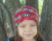 Multi-color crochet hat, child's hat, girls hat,