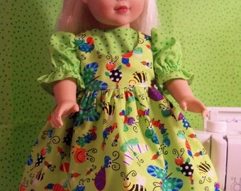 "Green Dress with Smiling Bugs Pinafore for 18"" dolls"