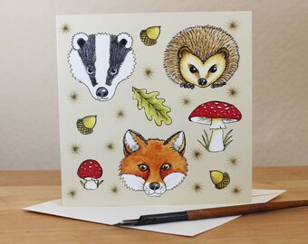 Woodland Animals Card, Fox, Hedgehog, Badger, Toadstool, Forest Creatures Square Blank Greetings Card for Birthday, Thank You, Notecard