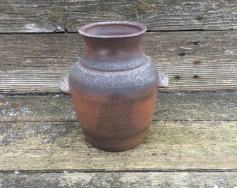 wood fired stoneware crock with lugs, handled crock, pottery crock, wood fired vase, utensil holder, wood fired jar