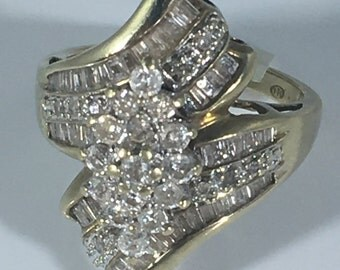 10k gold diamond ring, gold ring with small diamonds, vintage gold ring