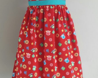 Cotton Prom style Dress. Owls. Age 4-5 years.
