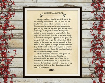 A CHRISTMAS CAROL - Book Page Wall Art - Book Lovers Large Wall Poster- Great For Christmas Decor Or Gift