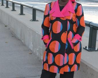 Pink Ankara Trench Coat