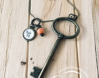"""Psalm 119:11 Bible Verse on Necklace- """"I have hidden your word in my heart.""""- Key Necklace- Long Necklace"""