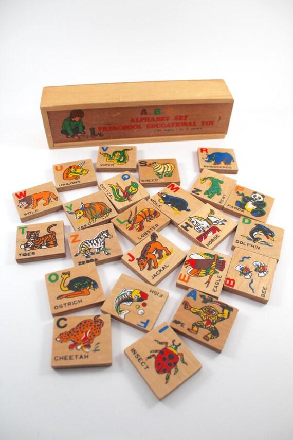 Alphabet Educational Toys : Vintage wooden alphabet tiles preschool educational toy