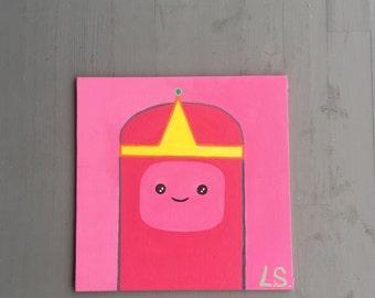 Minimalist Princess Bubblegum, Adventure Time - 20 x 20 cm Acrylic Painting - Handmade Painted to Order