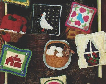 Country Home Pillows Crochet Pattern 11 1/2 Inch Square   -     PDF Download