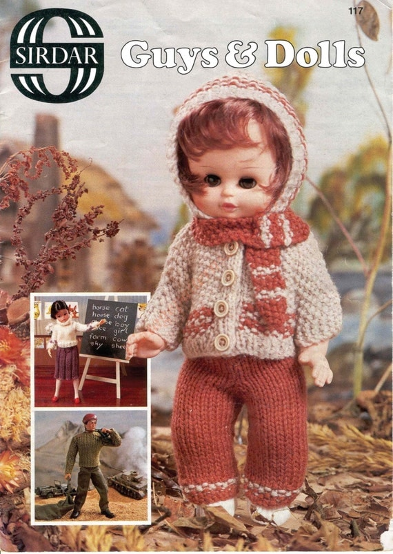 Knitting Patterns For Baby Dolls Clothes Old Style : Vintage Guys And Dolls Knitting Pattern DK by VintagePatterns2015