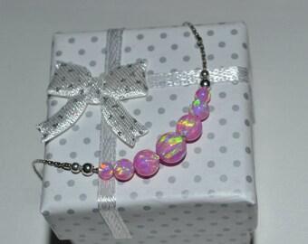 OPAL BRACELET // Tiny Opal Bracelet Silver - Pink Opal Ball Bracelet - Dot Bracelet - Single Bead Bracelet - Opal Bead Bracelet