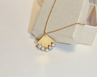 White Opal Necklace // Charm Necklace Gold - Opal Jewelry - Opal Drop Necklace - Pendant Necklace - Tiny Necklace - Gem Necklace