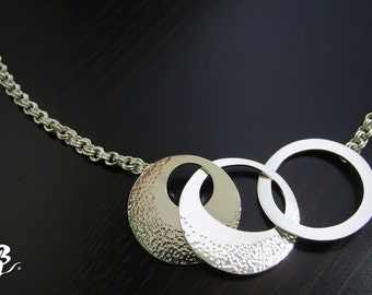 Circle Pendent, Necklace, Sterling Silver, hand made, hammered with chain mail Breguet, Women