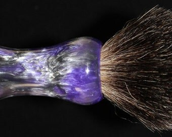 Custom Made 24mm Shaving Brush Handle Purple and Silver
