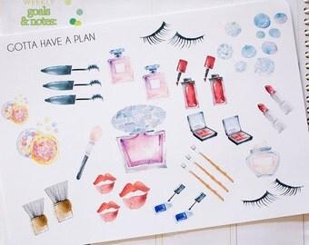 Planner Stickers Watercolor Makeup and Tools for Erin Condren, Happy Planner, Filofax, Scrapbooking