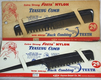 Vintage Foster Grant Teasing Hair Combs On Original Cards 1960's