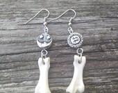 Bone Earrings, Sun, Cresent Moon And Stars jewelry,  Turkey Toe Bone Earrings , Real Animal Bone Jewelry, Boho  Jewelry ,Gypsy Jewelry