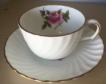 """Northumbria """"Carleton Rose"""" White Vintage Teacup and Saucer, Hand Painted Pink Rose Tea Cup and Saucer, English Floral China"""