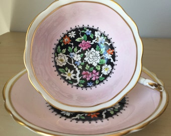 Pink and Black Paragon Vintage Teacup and Saucer, Hand Painted Flower Tea Cup and Saucer, English Floral Bone China, Garden Tea Party, 1940s