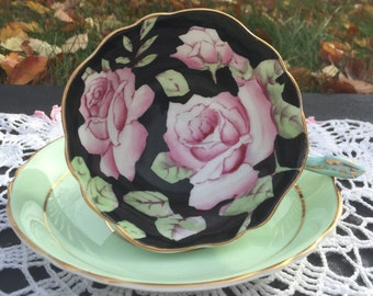 Paragon Black Vintage Teacup and Saucer, Hand Painted Pink Rose, Black and Mint Green Tea Cup and Saucer, Double Warrant