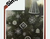 Crocheted Christmas Ornaments and Angel Tree Top Pattern Uncut Simplicity 5180