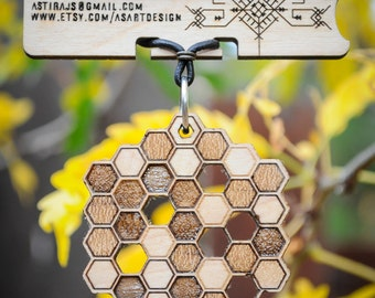 Honeycomb Necklace - Laser Cut Maple