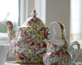 Tea Things Photo Print, Floral Teapot and Cream Jug, 5x5 or 6x6 or 10x10 Inch Print, Kitchen Decor