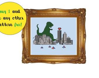 INSTANT DOWNLOAD Stitch Godzilla Tea Rex PDF Cross Stitch Pattern Needlecraft / pixel art home decor / funny valentines cross stitch