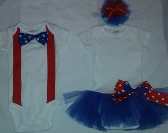 Matching Twin outfits - Tutu onesie & bow tie onesie - newborns, toddlers,