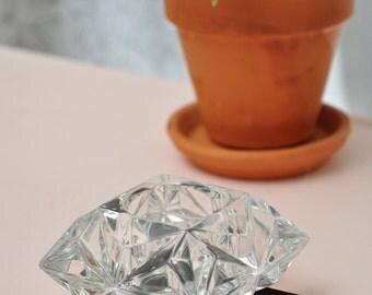 Glass Multi-Facteted Tea Light Holder - Heavy!
