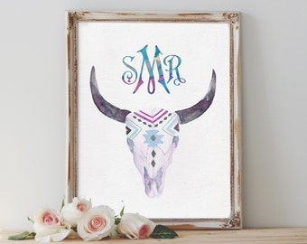 Exceptional Custom Monogram Wall Art Printable Personalized Watercolor Print Bull  Antlers Nursery Room Decor Boho Chic Home Part 21
