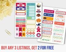 USA Holiday Sticker Set, Christmas Holiday Sticker, Halloween Sticker, Thanksgiving Sticker, Valentine's Day Sticker, Planner Stickers