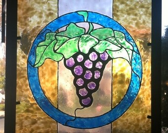 """Vintner's Circle - 8""""x10"""" Hand-painted """"stained glass"""" Window Suncatcher - faux stained glass - Wine - Grapes - Kitchen - Wine Barrel"""