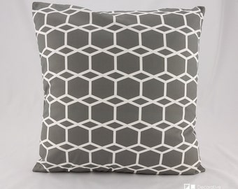 SHIPS TODAY (18x18) Geometric Gray and White Pillow Cover, Gray and White Throw Pillow, modern pillows, Geometric Charcoal Gray and White