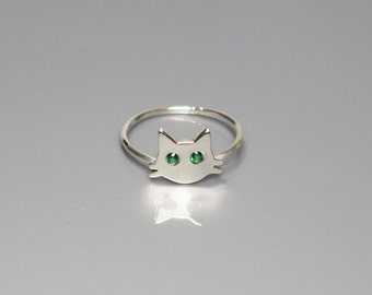 Ring, Cat Face, Cat Face Ring, Whiskers, Decorated with CZ Stones