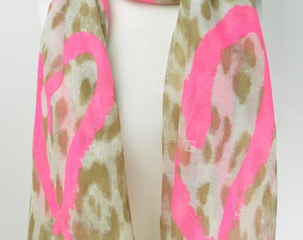Pink Graffiti Heart Animal Print Scarf/Wrap/Shawl/Cover Up/Scarves
