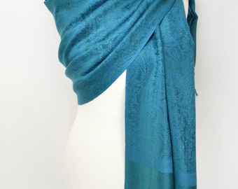 Teal Paisley Pashmina Shawl/Wrap/Scarf/Cover-Up-Formal/Wedding/Gift/Party/Mother of the Bride
