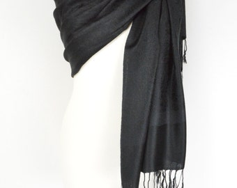 Black Paisley Pashmina Shawl/Wrap/Scarf/Cover-Up-Formal/Wedding/Gift/Party/Mother of the Bride