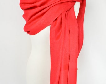 Red Paisley Pashmina Shawl/Wrap/Scarf/Cover-Up-Formal/Wedding/Gift/Party/Mother of the Bride/Silver/Slate