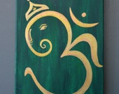 Om Ganesha Acrylic Canvas Painting ~ Home Decor Art/ Wall Art/ Yoga Studio Decor/ Prayer Room Art